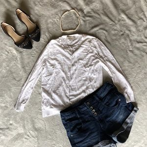 LOFT white 3/4 sleeve cardigan (small)
